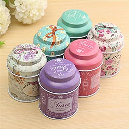 Fashionclubs Retro England Metal Tinplate Hinge Top Tin Cans Container Box for Tea Candy Sugar Coins Storage (4)