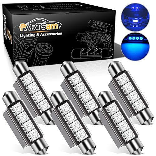 Partsam 42mm Festoon LED Light Bulbs LED Interior Lights Map Dome Lights Bulbs 211-2 578 569 Festoon LED Lamps - Blue (6 Pcs)