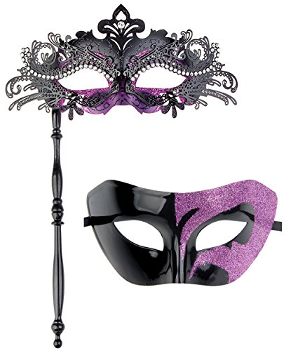 IETANG One Pair Couple's Gorgeous Venetian Masquerade Masks Party Costumes Accessory (on -