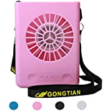 Necklace Fan 3 Speeds Portable USB Fan Rechargeable Fan Mini Personal Fan with String for Personal Cooling Kids Walking Camping Travel Outdoor Activities - Pink