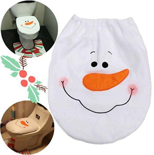 (35x44cm Velvet Christmas Decoration Snowman Toilet Seat Cover Bathroom Decor by ShopIdea)