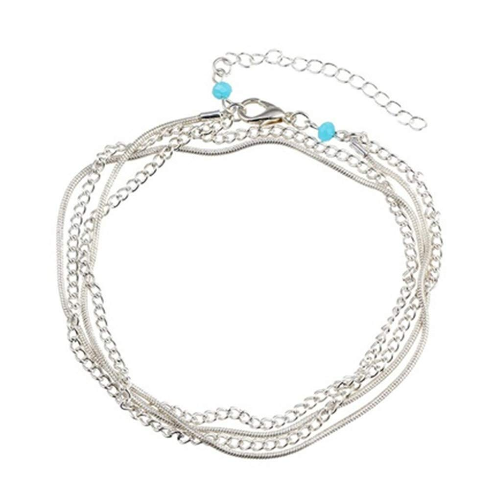 Myhouse Women Girls Bohemian Multilayer Barefoot Sandal Beach Foot Chain Anklet Ankle Bracelet, Silver Color