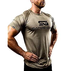 Satire Gym – T-Shirt Slim Fit Homme pour Fitness – T-Shirt de Sport à séchage Rapide – T-Shirt de Musculation Homme pour…