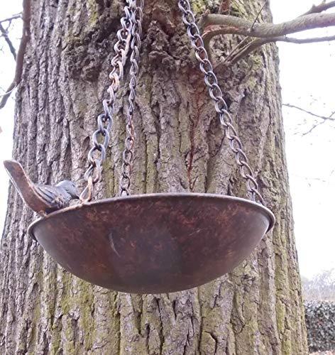 Vogeltränke  Vogelbad Vogel-Futterstelle Eisen massiv bronzefarben 22