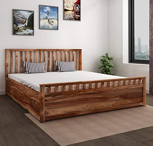 HomeEdge Sheesham Wood Teak Finish Abbey Storage King Size Bed