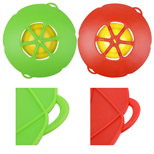 AUANDYU 2 X Spill Stopper Lid Cover And Spill Stopper, Boil Over Safeguard,Silicone Spill Stopper Pot Pan Lid Multi-Function Kitchen Tool (Green And Red) by AUANDYU (Image #5)