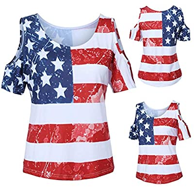 Claystyle Womens Short Sleeve Blouse Patriotic Stripes Star American Flag Heart Print Tank