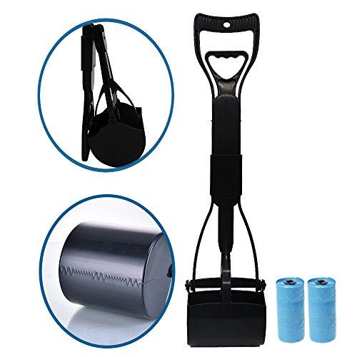 Pooper Scooper for Pet Waste,Best Long Handle Jaw Clamp Scooper, Great in Grass, Gravel, Snow, Dirt, Cement (Black)