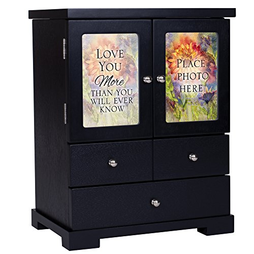(Cottage Garden Love You More Place Photo 12 x 10 Black Finish Wood Jewelry Armoire)
