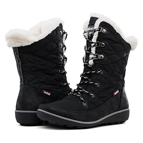Globalwin Women's Black Winter Snow Boots 8M