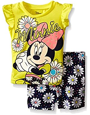 Baby Girls' Minnie Mouse Woven Short Set with Fashion Top