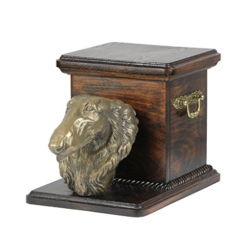 Borzoi, Russian Wolfhound, memorial, urn for dog's ashes, with dog statue, ArtDog