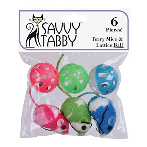 (Savvy Tabby US1395 06 6-Pack Terry Mice and Lattice Balls Cat Toy)
