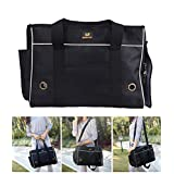 Pet Leso Cat Carriers Doggie Stripe Handbag Puppy Travel Tote Bag Pet Carrier Soft Sided Black -M