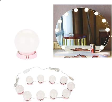 luces de tira Kit de maquillaje iluminado Tocador Espejo Hollywood Espejo Luces bricolaje Vanidad de las bombillas de la l/ámpara del kit 10 bom Vobor maquillaje LED Espejo USB luz de la secuencia