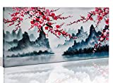painting a bedroom Large Wall Art Decor for Living Room Bedroom Framed Hand-Painted Chinese Style Pink Plum Blossom Canvas Picture Modern Black and White Landscape Flower Painting for Home Office 48x24 Inch