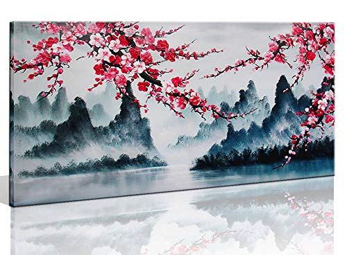 Large Family Wall Decor Art for Living Room Bedroom Framed Hand-Painted Pink Plum Blossom Flower Canvas Picture Modern Black and White Landscape Painting for Home Office 60x30 Inch