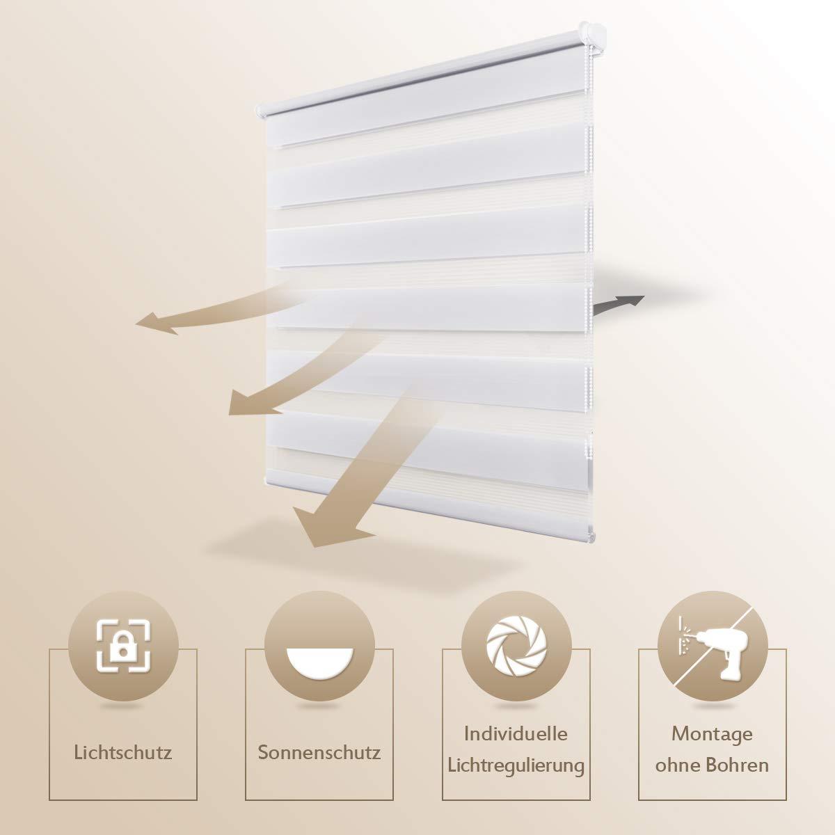 montabile senza fori 40 x 150 cm bianco Tenda a rullo oscurante Klemmfix duo doppio rullo per finestra