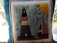 QUILTED Lighthouse Sailboat Pillow Cover