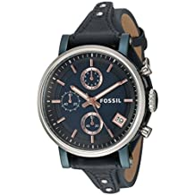 Fossil Women's ES4113 Original Boyfriend Sport Chronograph Blue Leather Watch