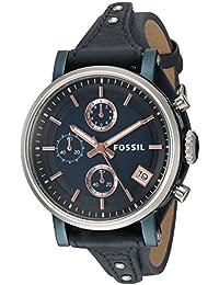 Women's ES4113 Original Boyfriend Sport Chronograph Blue Leather Watch