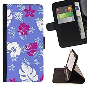 Bright-Giant (Purple White Tropical Jungle) Modelo Colorido Cuero Carpeta Tirón Caso Cubierta Piel Holster Funda Protección Para HTC Desire 626 626w 626d 626g 626G dual sim