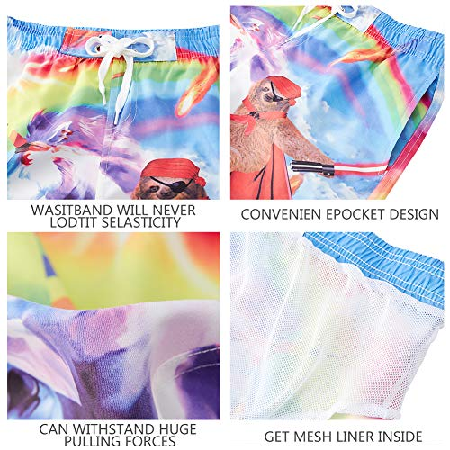 uideazone Teens Boys Swim Trunks Waterproof 3D Print Rainbow Sloth Unicorn Funny Pattern Beach Shorts Quick Dry Swimsuit for Casual