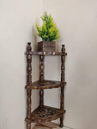 FABULO Wooden Mini Corner End Rack Side Table with Shelves, 8.5x8.5x21 Inches (Brown)