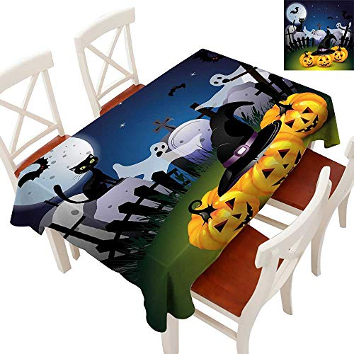 Halloween Fabric Dust-Proof Table Cover Funny Cartoon Design with Pumpkins Witches Hat Ghosts Graveyard Full Moon Cat Waterproof/Oil-Proof/Spill-Proof Tabletop Protector Multicolor 60