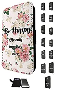 1175 - Floral Shabby Chic Roses Fleurs Be Happy Life only happens once Design Samsung Galaxy Note 4 Fashion Trend TPU Leather Flip Case Full Case Flip Credit Card TPU Leather Purse Pouch Defender Stand Cover