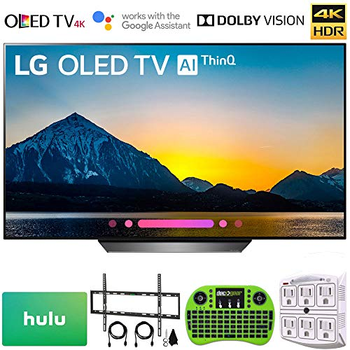 LG OLED55B8 OLED55B8PUA 55B8 55B8P 55″ Class B8 OLED 4K HDR AI Smart TV 2018 Model (OLED55B8PUA) with $100 Hulu Plus Gift Card, Wall Mount Kit, Wireless Backlit Keyboard & 6-Outlet Surge Adapter