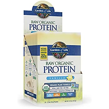 Garden of Life Organic Vegan Protein Powder with Vitamins and Probiotics - Raw Organic Plant Based Protein Shake, Sugar Free, Vanilla 10 Count Tray