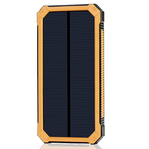 Solar Power Bank 15000mah Portable Dual USB Ports Solar Cell Phone Charger External Backup Bettery Pack with 6 LED Flashlight for iPhone iPad Samsung and More (Yellow)