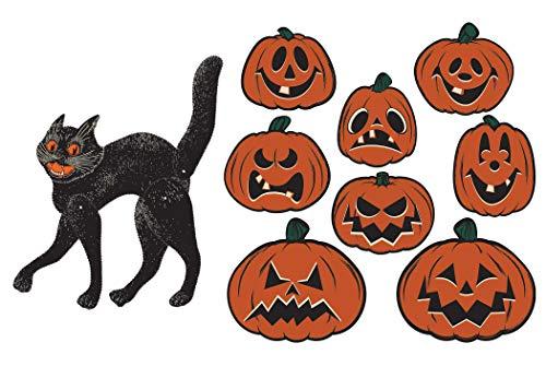 Vintage Halloween Cat and Pumpkin Bundle | Includes Jack-O-Lantern and Black Cat Cutouts -
