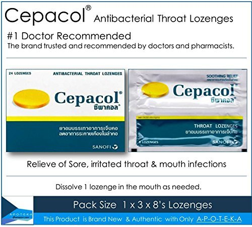 Throat Coat Herbal Syrup (Cepacol #1 Doctor Recommended OTC Sore Throat Lozenge in the U.S. ( 24 Lozenges) Contain Cetylpyridinium Cl 1.33 Mg and Benzyl Alcohol 6 Mg Effective for Sore, Irritated Throat & Mouth Infections)
