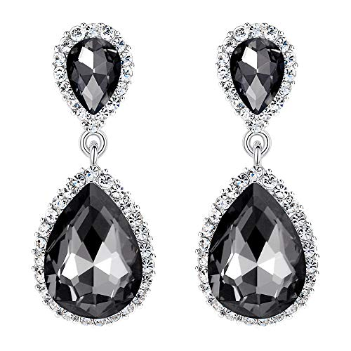 EVER FAITH Women's Austrian Crystal Wedding Tear Drop Dangle Earrings Dark Grey Silver-Tone