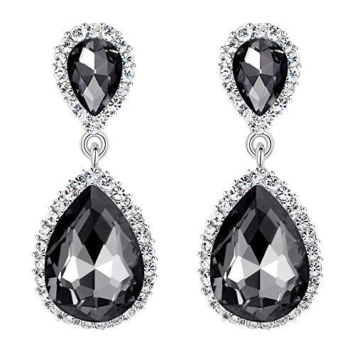 (EVER FAITH Women's Austrian Crystal Wedding Tear Drop Dangle Earrings Dark Grey)