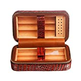 HYZXJHE Cigar Box, Cedar Wood Lining Humidifier Easy to Carry and Can Accommodate 6 Leather Cigar Box