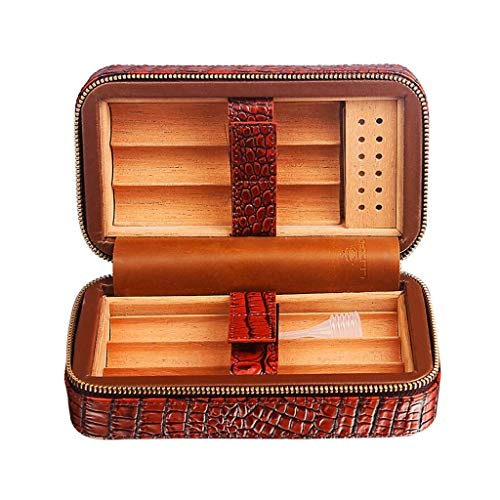 HYZXJHE Cigar Box, Cedar Wood Lining Humidifier Easy to Carry and Can Accommodate 6 Leather Cigar Box by HYZXJHE (Image #6)