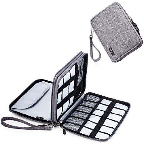 Electronic Sleeve Organizer, REOTECH Business Travel Universal Cable Organizer Electronics Accessories Cases for USB Cables, Phone and Chargers, Grey ()