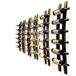 "Wall Mounted Wine Rack Barrel Stave Hanging Wooden Wine Rack Handcarved 6 Bottle Barrel Stave Wooden Wall Wine Rack Wine bottle holder Wine shelf wine cellar (Browm, 40"" X 8"" X 2.3"")"
