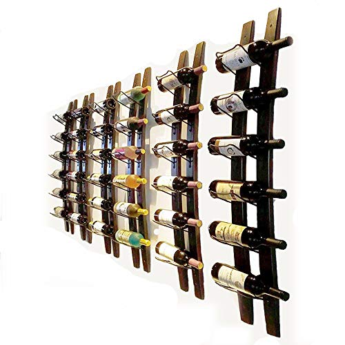 "Wall Mounted Wine Rack Barrel Stave Hanging Wooden Wine Rack Handcarved 6 Bottle Barrel Stave Wooden Wall Wine Rack Wine bottle holder Wine shelf wine cellar (Browm, 40"" X 8"" X 2.3"")"