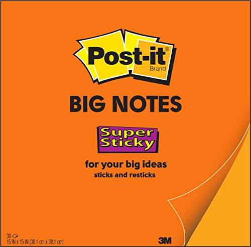 Post-It Super Sticky Big Note, 15 in x 15 in, Neon Orange (BN15)