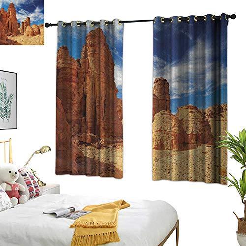 Sandstone Dining Sunbrella - Linen Curtains Desert,Bizarre Sandstone Cliffs in Sahara Desert Tassili NAjjer Algeria, Navy Blue Mustard Orange 84
