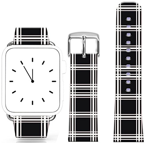Leather Band for Iwatch 42mm/44mm / Topgraph Replacement Leather Strap Compatible for Apple Watch 42mm/44mm White Black Fun Creative Special Cool Plaid Lines Stripes Series -