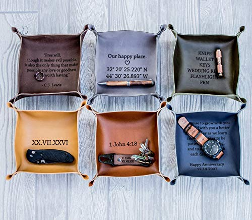 Personalized Valet Mens (Personalized Leather Valet Tray, Personalized Leather catchall, personalized anniversary gift, Customized mens gift, Customized leather gift)