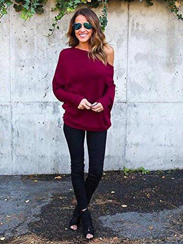 Sweatshirt Autunno Tomwell da Spalline Maglietta Maglia Lunghe Rosso Pullovers Maglioni Tops Maniche Felpa Senza Donna t7r7q
