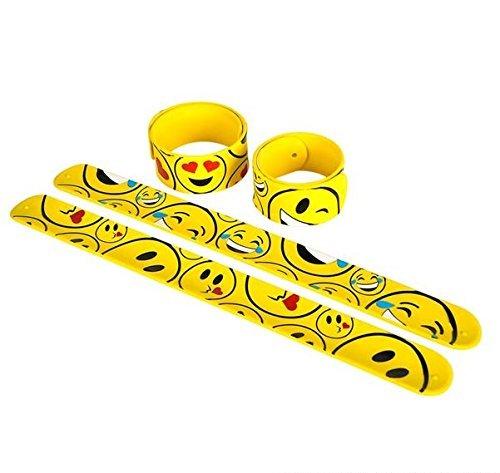 Rhode Island Novelty Emoticon Slap Bracelet, Pack of 12, 9-Inch