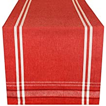 "DII 100% Cotton, Machine Washable, Everyday French Stripe Kitchen Table Runner For Dinner Parties, Events, Decor 14x108"" - Red Chambray"