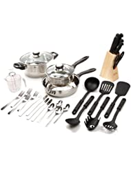 Gibson Value 89117.32  Lybra 32 Piece Cookware Combo Set, Mirror Polished Stainless Steel